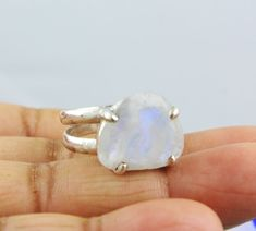 NATURAL RAINBOW MOONSTONE RINGS SOLID SILVER 925 STERLING JEWELRY 7.3 GM US 8.5 #Unbranded
