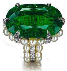 Tiffany Emerald & Pearl Ring