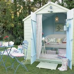 "should show this to my mom for our ""cottage house"" (aka shed) to be transformed into outdoor living."