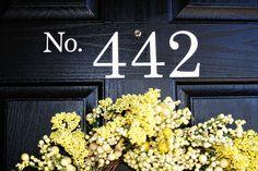 Door House Numbers Vinyl Decal (Address, front door, vinyl, custom, exterior, holiday, seasonal, vinylvineyard, vinyl vineyard). $9.00, via Etsy.