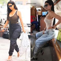 Kim vs Kylie Who wore the sheer bodysuit + sweatpants better? Body Suit Outfits, Heels Outfits, Sporty Outfits, Hot Outfits, Sporty Style, Trendy Outfits, Fashion Outfits, Sporty Chic, Modesty Fashion