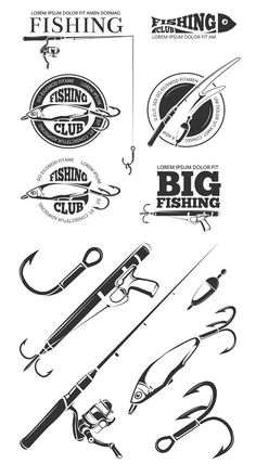 Fishing vector logo and elements set. Sport Icons. $5.00