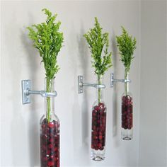 3 Wine Bottle Wall Flower Vases Wall Vase by GreatBottlesofFire, $45.00