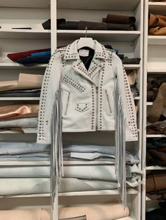 Custom White Dome Studded Fringed Leather Jacket with Laser Cut Leather Letters for Lzzy Hale Lzzy Hale, Mayday Parade Lyrics, Alan Ashby, The Amity Affliction, 3d Figures, La Dispute, Laser Cut Leather, Halestorm, Blink 182
