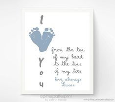 First Father's Day Gift for New Dad - I Love You Baby Footprint Heart - Personalized Gift for Grandpa, Daddy, Grandfather
