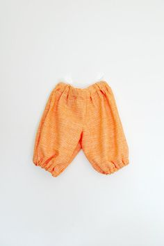 Baby girls orange linen cotton mix gingham baggy bloomer type summer trousers pants 6-12 months