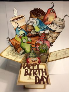 Crazy Birds & Coffee By Carol Wenker - Tim Holtz Crazy Birds Stamps Card In A Box, Pop Up Box Cards, Card Boxes, Crazy Bird, Crazy Cats, Crazy Animals, Tim Holtz Stamps, Bird Cards, Animal Cards