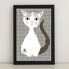 Illustrationen - Litti die Katze Illustration Kunstdruck Grafik Cat - ein Designerstück von miameideblog bei DaWanda