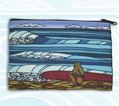 Unique clutch by surf artist Heather Brown of a surfer girl looking out at the blue ocean, perfect for everyday use as a cosmetic bag, pencil case or as a fun clutch! Surf Girls, Beach Girls, Heather Brown Art, Surf Hair, Surf Decor, Art Bag, Beach Towel, Her Style, Surfing