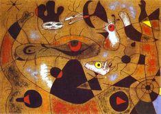 """""""A gota de orvalho que cai da asa de um pássaro, acorda Rosalie, que esteve a dormir à sombra de uma aranha"""". Óleo sobre tela. 1939. Joan Miró (1893-1983). Encontra-se no Museu de Arte da Universidade de Iowa, USA."""
