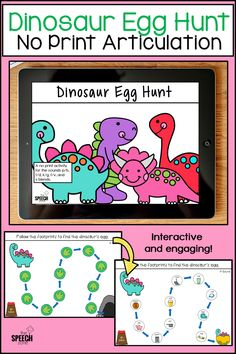 This no print dinosaur themed speech therapy activity is sure to be a hit with your preschool and early elementary students. Just click on the footprints to uncover sound specific pictures that lead to a hidden dinosaur egg in a cave. The game board pages are engaging and easy for kids to use on either a computer or a tablet. Students can use the pictures hidden under the footprints to practice articulation at the word, phrase or sentence level.