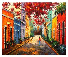 Puerto Rico,20x24,Canvas print of oil painting,original print , signed by painter,Capilla del Cristo,Old San Juan,Flamboyant Tree.