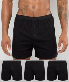 Get this Asos's boxers now! Click for more details. Worldwide shipping. ASOS Jersey Boxers 3 Pack In Black SAVE - Black: Boxer shorts pack by ASOS, Pack of three, Soft-touch jersey, Stretch waistband, Non-functional button fly, Form-fitting design, Machine wash, 100% Cotton. ASOS menswear shuts down the new season with the latest trends and the coolest products, designed in London and sold across the world. Update your go-to garms with the new shapes and fits from our ASOS design team, from…