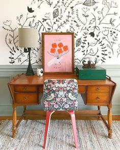 Add some colour to your office space with the Liberty for Anthropologie chair. The colours and florals juxtapose the old school furniture perfectly. Photo by @gingiber