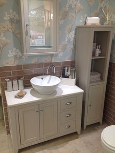 Laura Ashley Millwood wallpaper goes perfectly well with our Cottonwood bathroom furniture