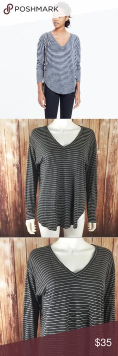 "Madewell The Anthem Striped V Neck Madewell 'The Anthem' striped v neck, women's size M. Bust 42"" length 25.5""100% viscose Madewell Tops Tees - Long Sleeve"