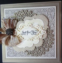 Beautiful Just For You Card...with paper lace & bow...PartiCraft.