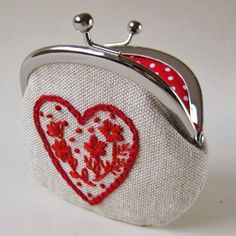 Handmade valentine's heart coin purse $36