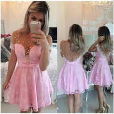 Mini A-Line Lace Homecoming Dresses Short Sleeves Beaded Prom Dresses with Bow,412