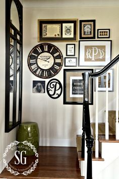 ADDING A CLOCK TO WALL ART GALLERY- wall art gallery with clock-stonegableblog.com