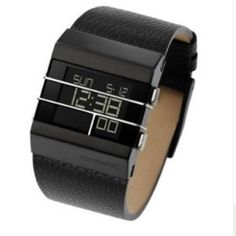 Diesel digital watch, black leather Just in time for Valentines Day!!!! Great gift for the man or woman in your life! Band length is men's standard, but would look great on a girl too! Case material is stainless steel, band is leather. Never been worn! Just replaced the battery though. Display can be backlit and is crystal. Water resistant to 165 feet. Super nice, just never wore it. Diesel Accessories Watches