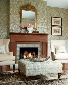 Thibaut Wallpaper Richmond Collection - Sansome in Aqua. Fabric - Sansome in Aqua Traditional Chairs, English Country Style, Beautiful Home Designs, Elegant Living Room, Hearth And Home, Furniture Placement, Interior Design Inspiration, Wall Design, Cool Furniture