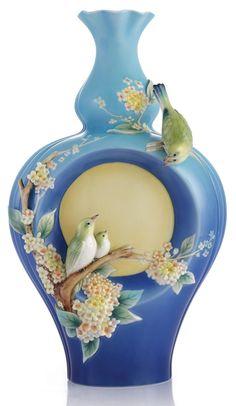 Franz porcelain moon and fragrant olive Japanese white eye large vase