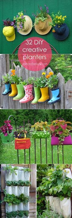 35 Creative DIY Planter Tutorials ( How To Turn Anything Into A Planter! ) 32 most creative and unique planter tutorials! How to make your own plating containers from from up-cycled and re-purposed objects and materials! Wood Planters, Garden Planters, Planter Ideas, Garden Crafts, Garden Projects, Garden Tips, Container Plants, Container Gardening, Flower Containers