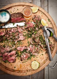 BBQ pink peppercorn chateaubriand with mint, habanero chili, lime and parsley gremolata. | by Katie Quinn Davies