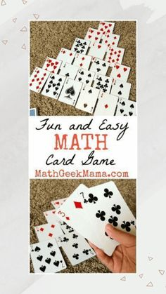 Fun and Easy Math Card Game that kids can play over and over! All you need is a deck of cards! Pyramid is a simple to learn math card game to make ten that can be played with a regular set of playing cards. It helps build number sense in early learners. Easy Math Games, Games For Kids Classroom, Math Card Games, Carnival Games For Kids, Card Games For Kids, Playing Card Games, Fun Math, Dice Games, Ten Games