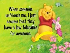 When someone unfriends me, I just assume that they have a low tolerance for awesome.