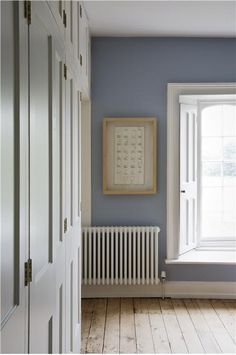 not sure which room, lounge stairs maybe, bedroom with walls in Lulworth Blue Estate Emulsion and woodwork/ceiling in Wimborne White Estate Eggshell and Estate Emulsion. White Rooms, White Bedroom, Blue Bedrooms, Style At Home, Farrow And Ball Lulworth Blue, Bedroom Colors, Bedroom Decor, Bedroom Colour Schemes Warm, Colors