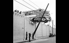 LOS ANGELES TIMES ARCHIVE/UCLA  Santa Fe locomotive goes through wall   By: Scott Harrison    Jan. 25, 1948