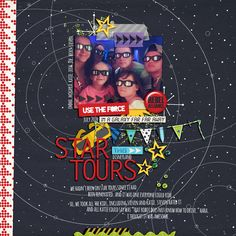 #papercraft #scrapbook #layout. Disney Star Tours - Star Wars - Tomorrowland digital scrapbook page by denise featuring Project Mouse (Tomorrow) by Britt-ish Designs and Sahlin Studio