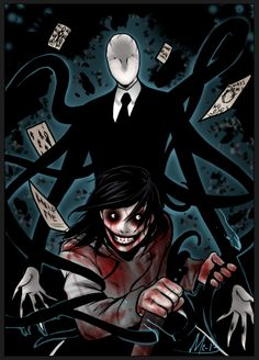 Slenderman vs Jeff The Killer, am I the only one who enjoyed it? Jeff The Killer, Creepypasta Slenderman, Creepypasta Characters, Creepy Stories, Horror Stories, Creepy Pasta Family, Laughing Jack, Arte Horror, Dark Art