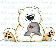 A Hug for Ike - Penguins - Animals - Rubber Stamps - Shop polar bear Penguin Animals, Cute Animals, Christmas Images, Christmas Art, Cute Drawings, Animal Drawings, Child Draw, Cute Clipart, Bear Clipart