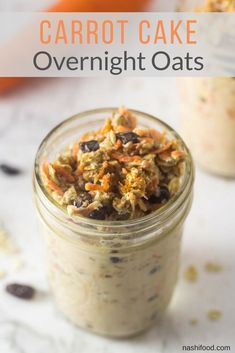 Looking for a treat and a breakfast at the same time? Try out this carrot cake overnight oats, they will just take you back to eating a delicious carrot cake with cream cheese frosting. via Oats Carrot Cake Overnight Oats, A Sweet Breakfast Treat Best Breakfast Recipes, Savory Breakfast, Sweet Breakfast, Brunch Recipes, Easy Carrot Cake, Overnight Oatmeal, Second Breakfast, Oats Recipes, English Food