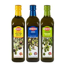 """Salvadori Extra Virgin Olive Oils  $6.50 Each/ Greek  Known as """"liquid gold"""" in Greece, this olive oil is derived from the Greek Kalamata olive. Enjoy this Greek olive oil flavor in your cooking and salads    Italian  Made from Italian Coratine and Ogliarole olives this olive oil is best paired up in salad dressings, pasta sauce and dipping sauces    Spanish  Made from the Spanish olives Picual and Hojiblanca, this olive oil is perfect for Spanish dishes and all of your favorite dishes."""