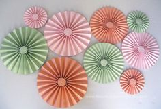 9 pc Mint Coral and Pink Rosettes Mint by BeautifulPaperCrafts