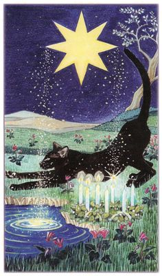 Pagan Cats Tarot - the Star card (along with the King of Swords) corresponds to Aquarius - a zodiac sign that pours out the eternal waters of love and life to the whole world. The Star card in tarot is often called a card of hope. Here, however, it is not hope as we often view it as wishful thinking, but in the archaic use of the word which means to have trust and confidence in the future.