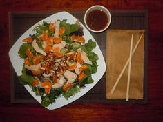 Asian Salad with chicken or make it vegan with Bhutan red rice and cannellini beans