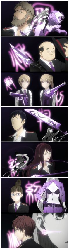 Noragami - Bishamonten 8 battle Shinki  In order from top to bottom;  Kugaha, Akiha, twins Kazuha and Karuha, Yugiha, Kinuha, Tsugaha and of course lead Exampler Kazuma.