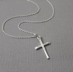 Simple Silver Cross Necklace, Sterling Silver Cross Necklace, Tiny Cross Necklace, Sterling Silver Cross, Baptism Gift, Confirmation Gift
