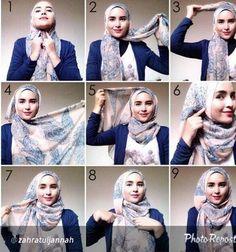 How to wear hijab tutorials headscarves 17 Ideas Square Hijab Tutorial, Hijab Style Tutorial, Turban Tutorial, Islamic Fashion, Muslim Fashion, Beau Hijab, How To Wear Hijab, Simple Hijab, Mode Kpop