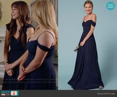 The Reformation Poppy Dress worn by Alison DiLaurentis (Sasha Pieterse) on PLL Pll Outfits, Tv Show Outfits, Fashion Outfits, Navy Bridesmaid Dresses, Prom Dresses, Wedding Dresses, Sasha Pieterse, Pretty Little Liars Fashion, Poppy Dress