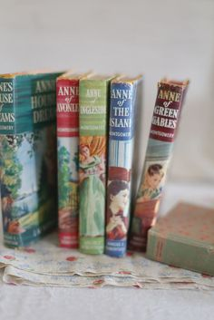 """""""Anne of Green Gables"""" series, nine by L. Montgomery, if you include her abridged/sketched story series of """"The Road To Yesterday,"""" and republished in 2009 in full as 'The Blythes Are Quoted', a far darker volume; the last Montgomery penned. I Love Books, Good Books, My Books, Anne Shirley, Cult, Vintage Children's Books, Book Lovers, Book Worms, Childrens Books"""