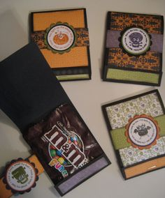 Renae Stamps: M&M Matchbooks ** No directions given - for photo reference only ** Halloween Paper Crafts, Candy Crafts, Fall Crafts, Holiday Crafts, Holiday Ideas, Halloween Treat Holders, Halloween Tags, Halloween Goodies, Halloween Ideas
