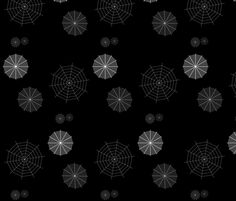Walking in the #Spiderwebs fabric designed by onestitchdesigns on Spoonflower - custom fabric #Halloween #Goth