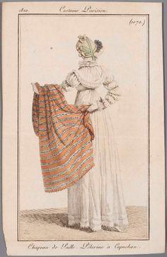 Striped shawl 1810 costume parisien