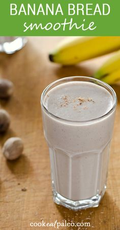 This easy banana smoothie recipe tastes like banana bread! With just a few healthy ingredients you probably already have, you can whip up this healthy breakfast smoothie any time you're craving something sweet and creamy. And it's dairy-free and refined sugar-free. Paleo Smoothie Recipes, Healthy Smoothies, Healthy Drinks, Paleo Recipes, Epicure Recipes, Ninja Recipes, Healthy Breakfasts, Healthy Foods, Paleo Banana Bread